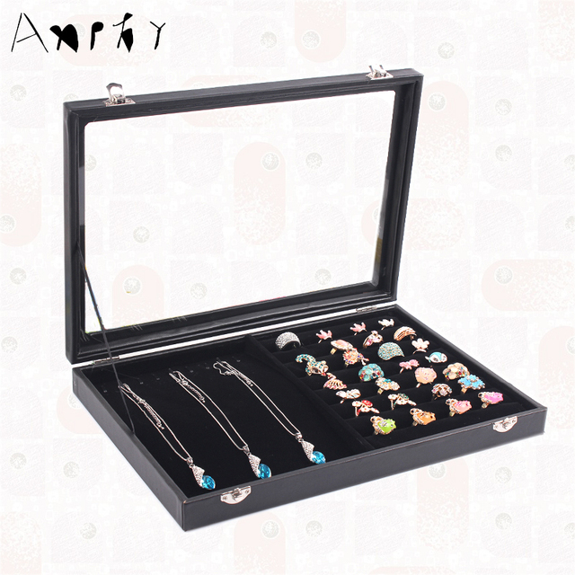 Aliexpresscom Buy Black Leather Jewelry Box Ring Necklace