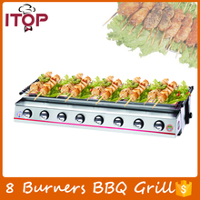 8 Burners Gas BBQ Grill Barbecue Stove Stainless Steel Smokeless Adjustable Height Outdoor Commercial