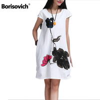 High Quality Cotton Linen Loose Casual Dress New 2016 Fashion Vintage Print Short Sleeve Women Summer
