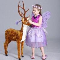 Filles En Gros Violet Fée Princesse avec Papillon Ailes Maille Sans Manches Dot Décor Afficher Scène Halloween Costume Robe