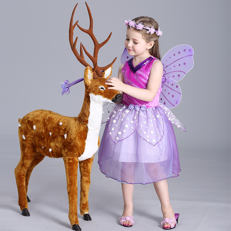 Toddler Girls Wholesale Purple Fairy Princess with Butterfly Wings Mesh Sleeveless Dot Decor Show Stage Halloween Costume Dress romantic fairy with wings blossom butterfly pattern wall sticker