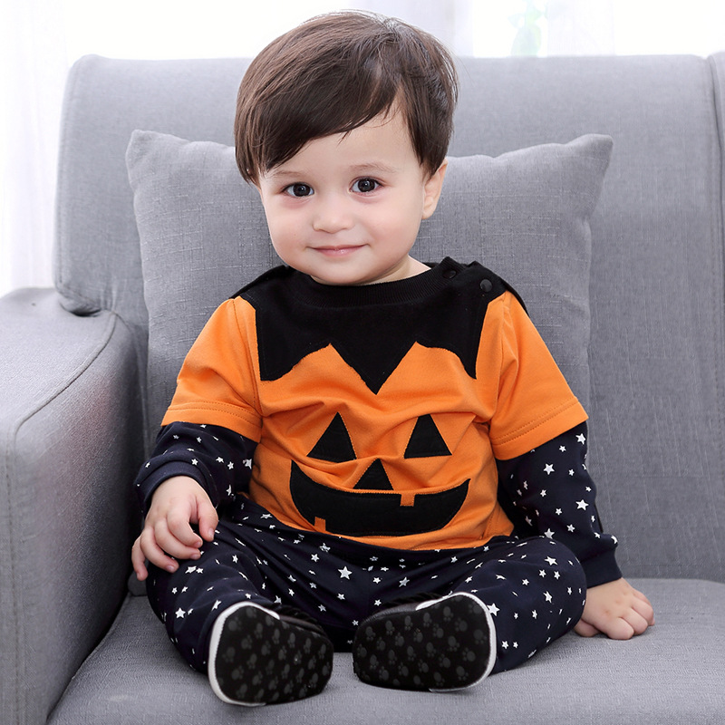 Halloween Cosplay costume for kids Children pumpkin party dress up clothes cotton shirt trousers sets