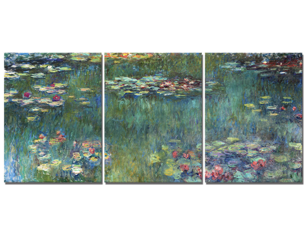 3 Panel Impressionist Claude Monet Water Lilies Oil Painting the Replica Canvas Art Home Decorative Pictures For Living Room