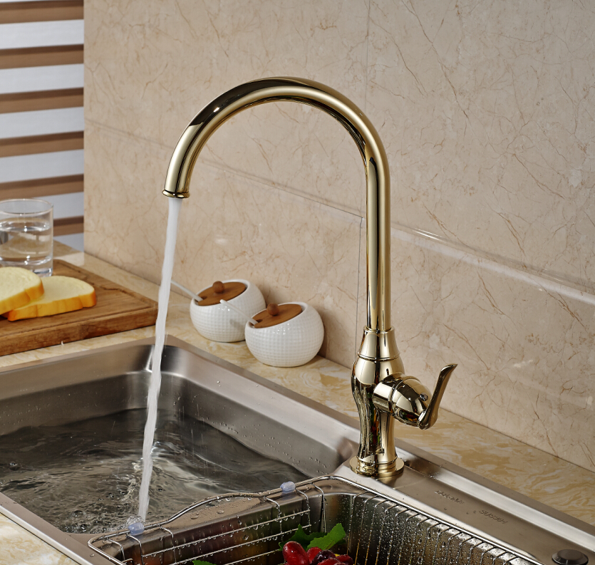 Tall Golden Brass Swivel Spout Kitchen Faucet Single Handle Hole Deck Mounted Hot and Cold Water kitavawd31eccox70427 value kit avanti tabletop thermoelectric water cooler avawd31ec and glad forceflex tall kitchen drawstring bags cox70427