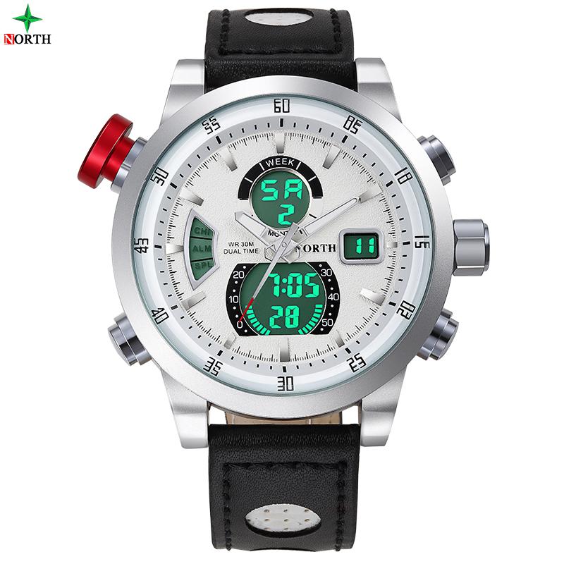 Prix pour Hommes Sport Montre Étanche Multifonction En Acier Inoxydable Véritable En Cuir Mâle LED Montre-Bracelet 2017 Horloge Hommes Numérique Montre de Sport