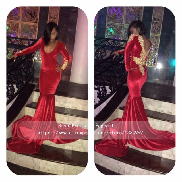 4a7f677d9c1d Deep V neck Long Sleeve Red Velvet Prom Dress Gold Lace Top Backless Court  Train Long Sexy Girl Mermaid African Prom Dresses