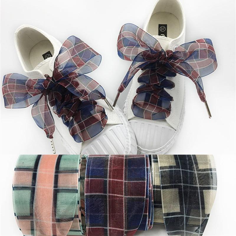 4 Cm Widen Grid Chiffon Organza Shoelaces 80/100/120/160 Cm Length Bowknot Sneaker Sport Shoes White Shoes Laces Dropshipping