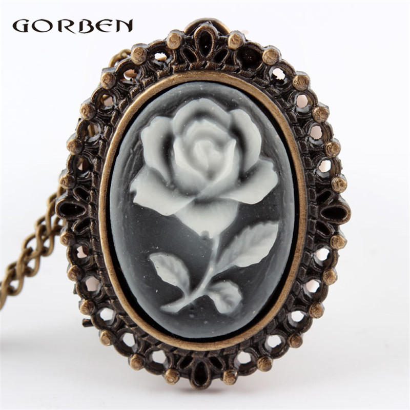 White Rose Flower Bronze Retro Pocket Necklace Pendant Watch Women's Gifts Elegant White Fob  Chain Clock P61