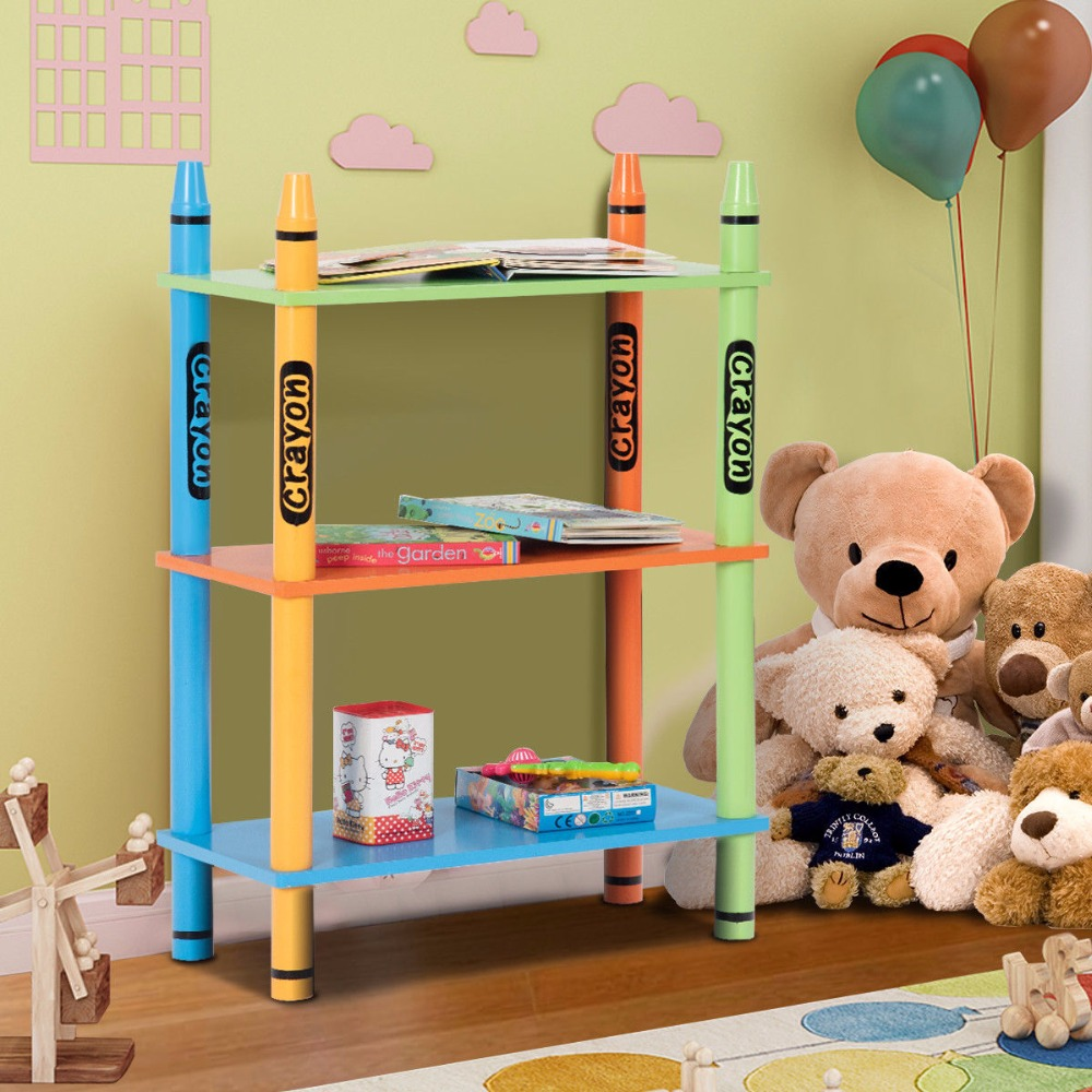 Giantex 3 Tiers Kids Bookshelf Crayon Themed Storage Bookcase Shelves Toddler Colorful Home Furniture HW58650