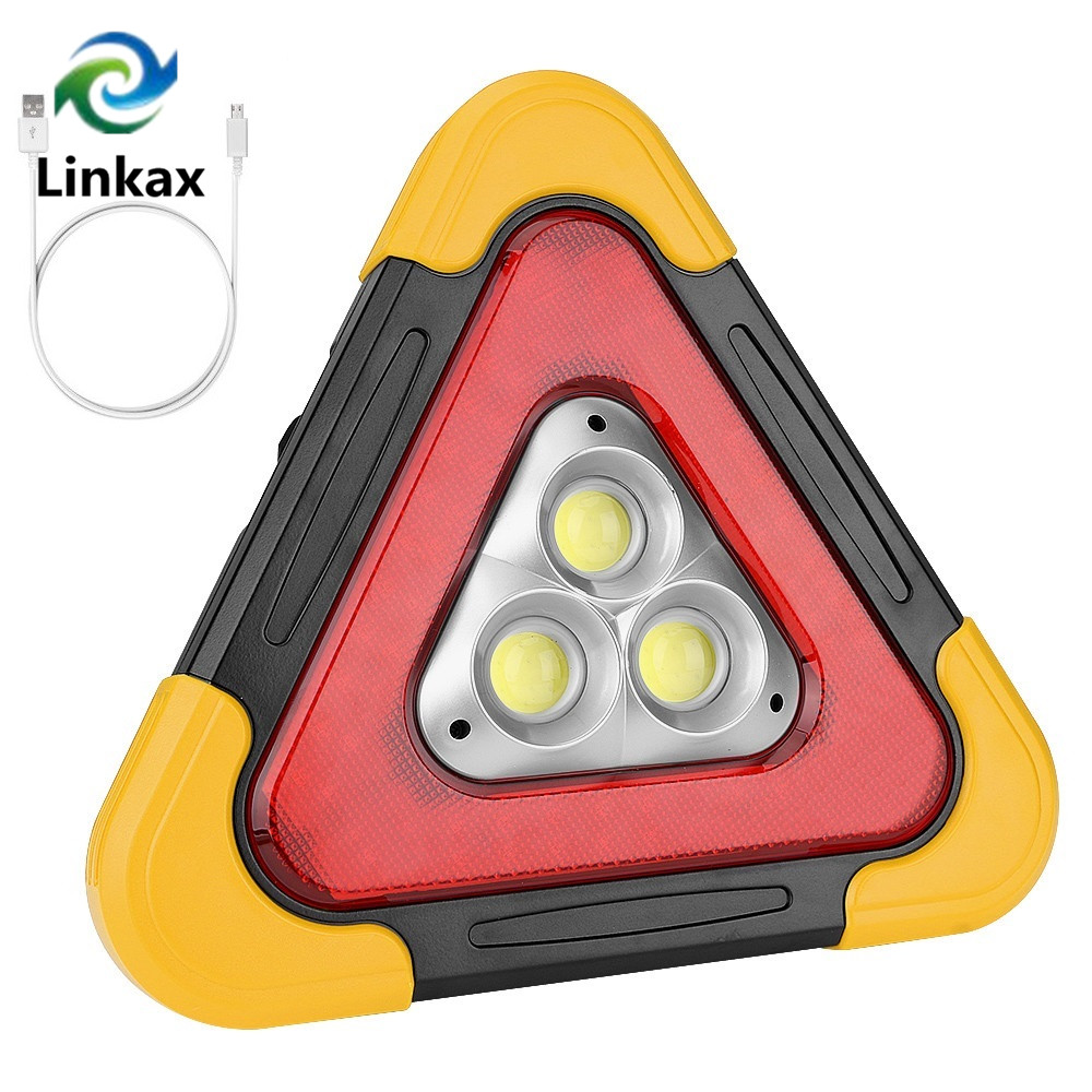 COB LED Portable Lantern Camping Lights Solar Energy Warning Lamp Super Bright