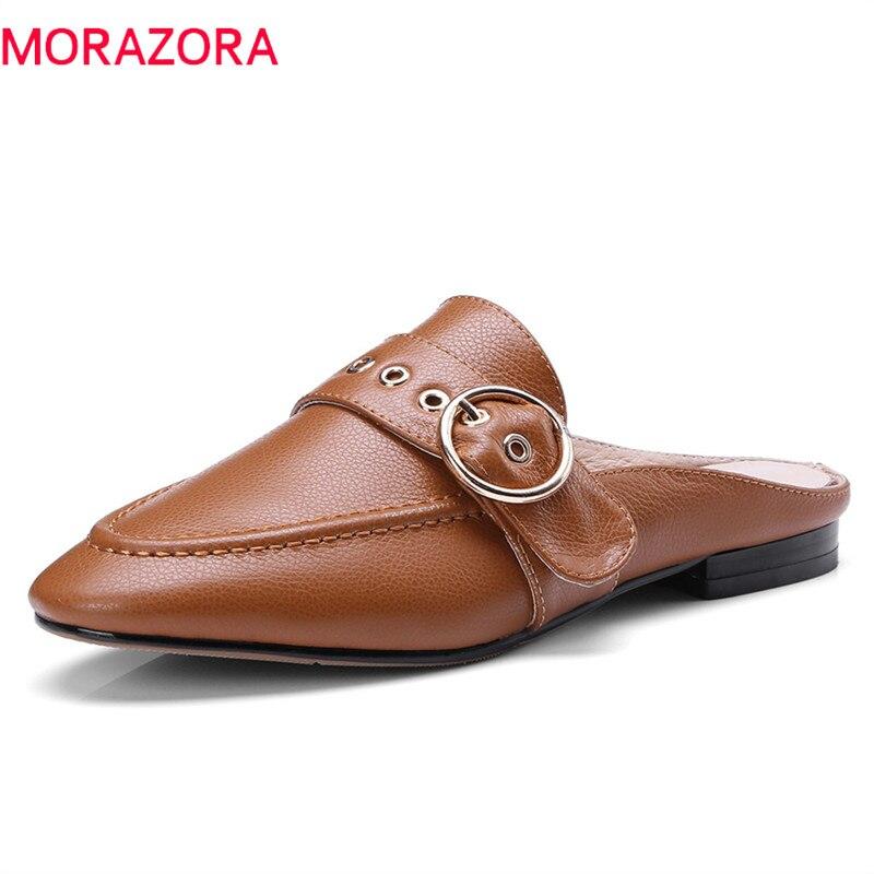 MORAZORA 2020 neue dame hausschuhe einfachen flachen mode runde kappe sommer maultiere schuhe top qualität aus echtem leder schuhe frau-in Hausschuhe aus Schuhe bei  Gruppe 1