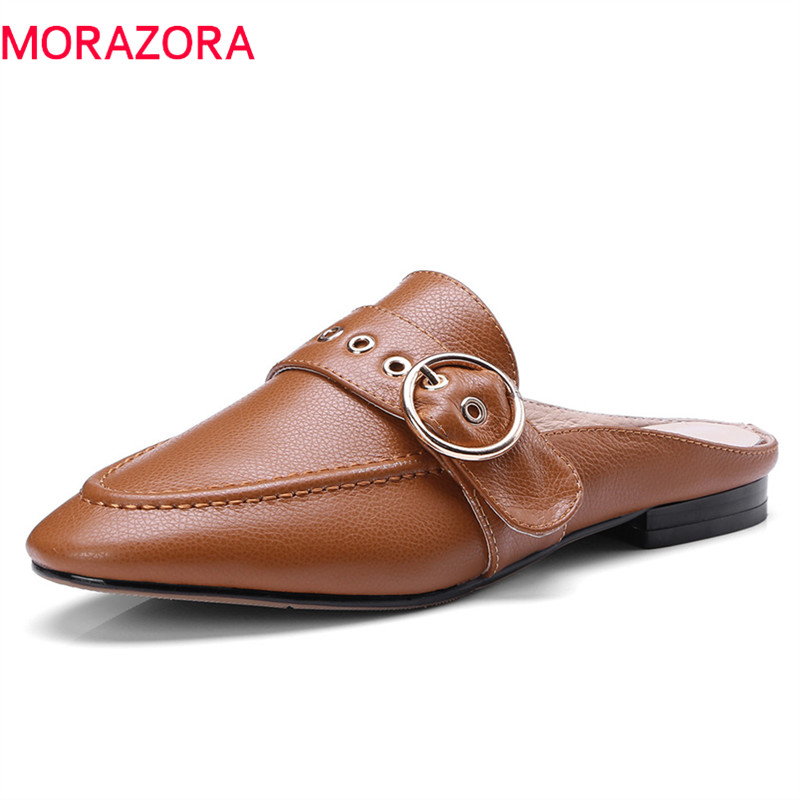 MORAZORA 2020 new lady slippers simple shallow fashion round toe summer mules shoes top quality genuine leather shoes woman-in Slippers from Shoes    1