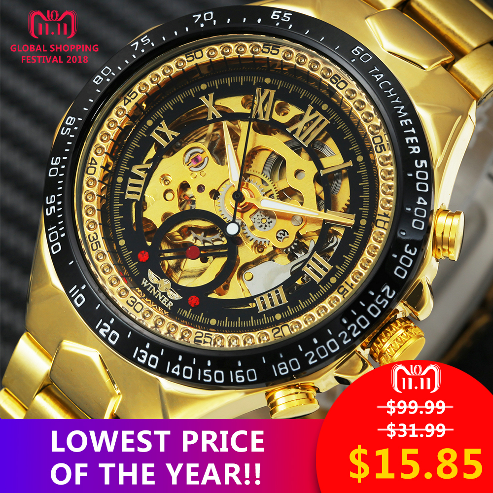 2018 WINNER Men Gold Watches Automatic Mechanical Watch Male Skeleton Wristwatch Stainless Steel Band Luxury Brand Sports Design 2017 black rose gold winner men watch cool mechanical automatic wristwatch stainless steel band male clock skeleton roman dial
