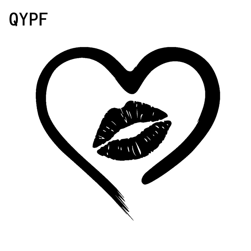 QYPF 16CM*14.4CM Vinyl <font><b>Sexy</b></font> Lips Kiss Heart Love Romance Car Sticker Decal Black/Silver <font><b>Accessories</b></font> C15-0713 image