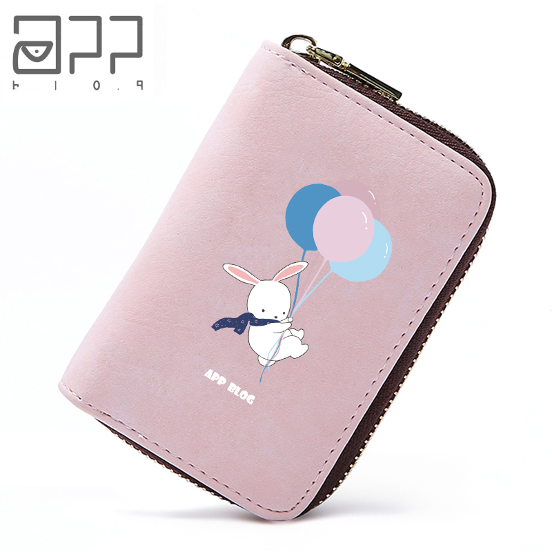 APP BLOG Cute Balloon Rabbit Business Card Holder Girls Women Credit ID Cards Case Bag Mini Wallet For Card Cover Porte Carte