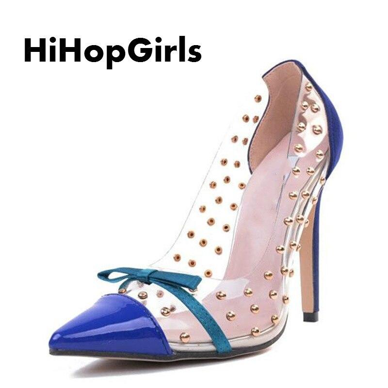 HiHopGirls Rivets High Heels 2017 New Transparencies High Heels Brand Shoes Pointed Toe Women Pumps Sapato Feminino Shoes DHL mavirs high heels hot sale spring brand women pointed toe shoes flock ladies pumps glitter suqare heels sapato feminino plus 653