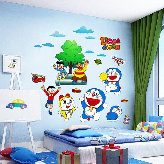 anak ruang baca wall sticker dengan tema kartun doraemon dan hewan