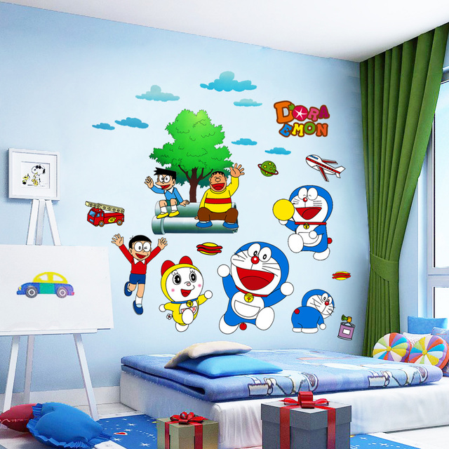 Children Reading Room Wall Sticker With Cartoon Theme Doraemon and ...