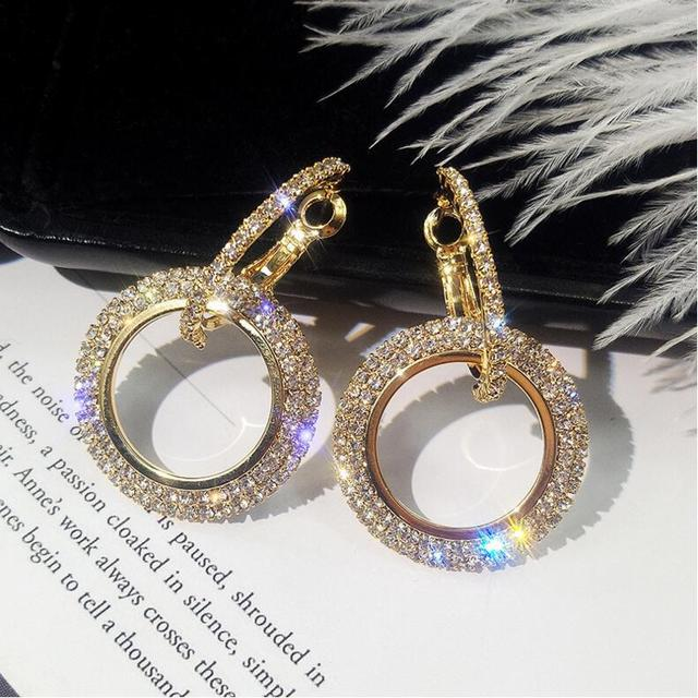 Round Gold silver elegant crystal earrings
