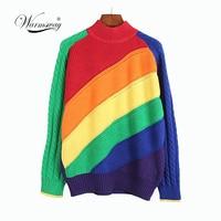 Women Pullover Rainbow Sweater Multicolor Striped Slim Casual Sweater Female Harajuku 2018 New Fashion Female Clothes C 109