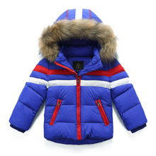 2017 New Arrive Winter Girls Jackets & Coats Fashion Fur Collar Striped Thick Warm  Short Winter Down Jacket Girl Hot Sale
