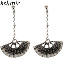 Womens fashion vintage silver  earrings Personality round long tassel statement 037 jewelry gifts