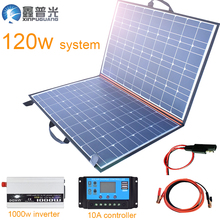 120w 18v Foldable Solar Panel Flexible Kits System Portable home USB Charger 100w for 12v battery Car Travel Boat Hiking Camping kinco 120w 18v semi flexible solar panel monocrystalline silicon folding solar system power supply for car battery charger