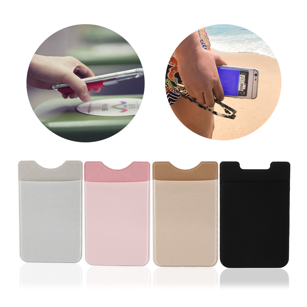 1PC Fashion ID Credit Card Holder Solid Mobile Phone Card Wallet Elastic Cellphone Pocket Adhesive Sticker Lycra Accessory