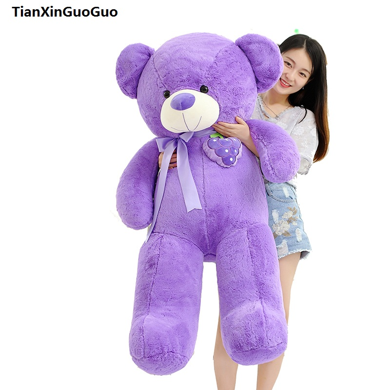 new style Large 135cm teddy bear plush toy fruit grape design purple bear soft doll hugging pillow birthday gift s0906 стоимость