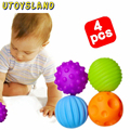 UTOYSLAND 4 Pcs/ Set Baby Hand Catch Massage Ball with Sound Effect Early Educational Toy For Kids Children