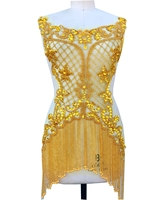 Handmade golden beads rhinestones applique on mesh sew on trim patches 62*38cm for wedding dress clothes accessory