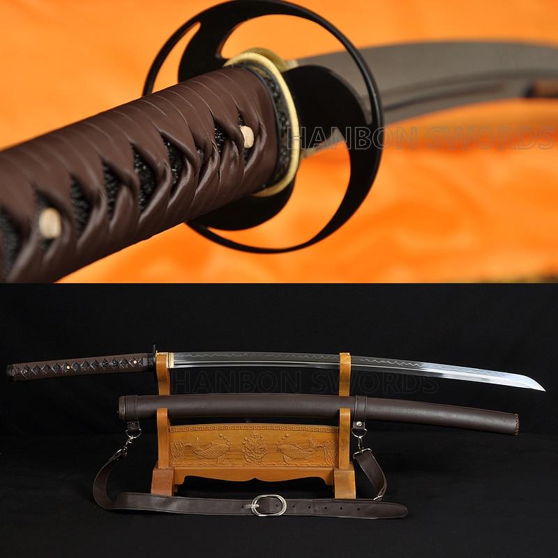 Real hamon japonês samurai espada katana completa tang argila temperado unokubi-zukuri duplo bo-oi lâmina tiras de couro bainha