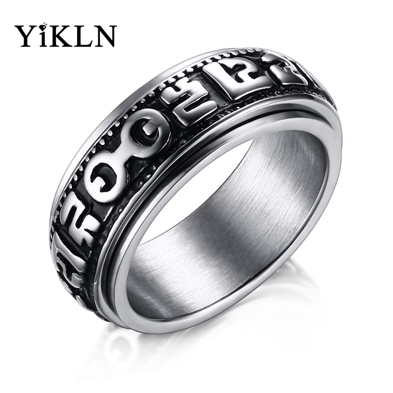 Dependable Yikln Religious Titanium Steel Six True Syllable Mantra Rings om Mani Padme Hum Bague Black Silver Color Spinner Rings Jrc176 Products Hot Sale Rings