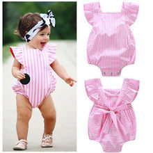 Ruffled Baby Girl Sunsuit Rompers Striped Baby Girls Clothing Set Kids Jumpsuit Cotton Chevron Rompers