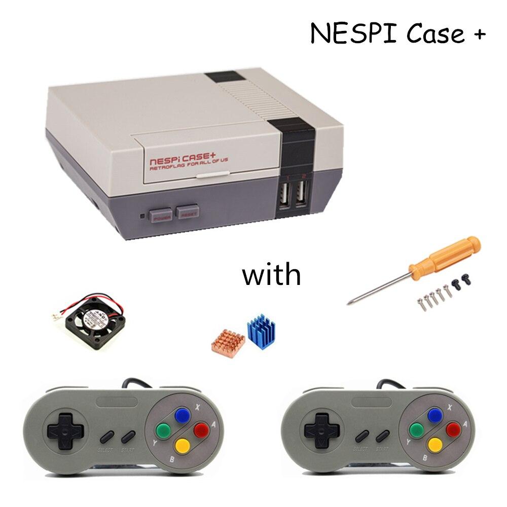 Raspberry Pi 3 NESPi boîtier + Retroflag boîte pour Raspberry Pi 3 2 B + RPI 3 boîtier plastique NES Style avec ventilateur de refroidissement + 2 tapis de jeu
