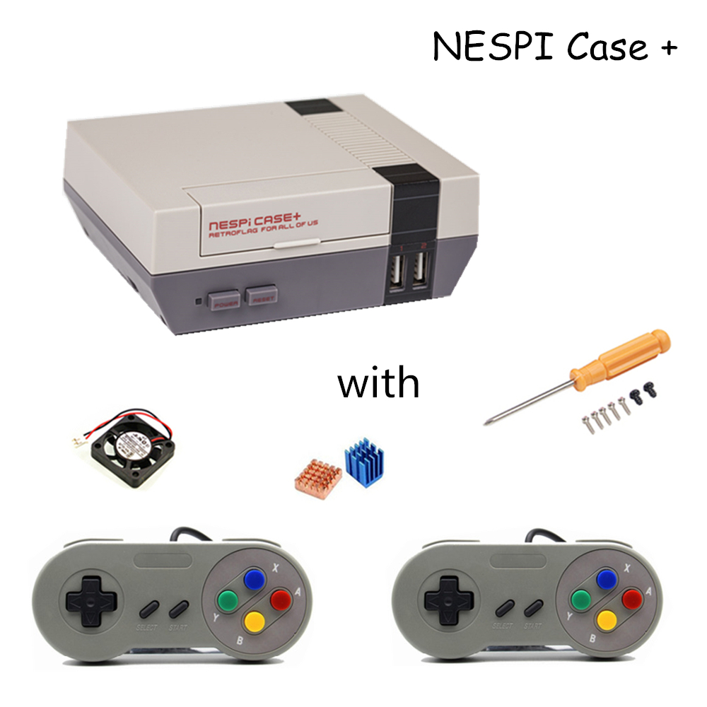 Raspberry Pi 3 NESPi Case+ Retroflag Box for Raspberry Pi 3 2 B+ RPI 3 Plastic Case NES Style with Cooling Fan + 2 Game pad 3 5 inch touch screen tft lcd 320 480 designed for raspberry pi rpi 2