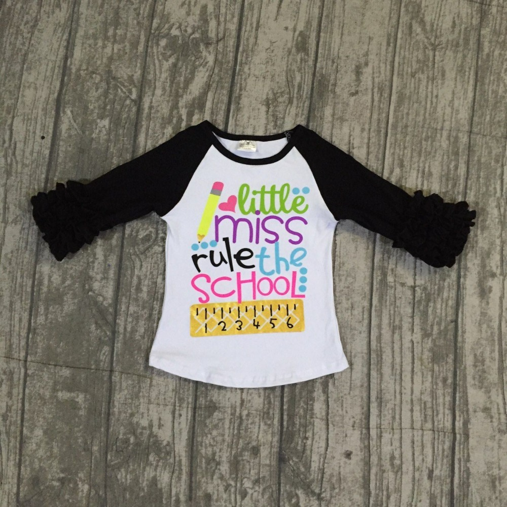 """""""little miss rule the school"""" 3/4 sleeve raglans 2018 back to school shirts hot sell boutique girls clothing 3t-8t available"""