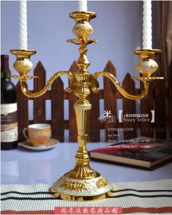 free shiping european 3light gold plated candle pillar candle holder decorative candlestick holders zt042b - Gold Candle Holders