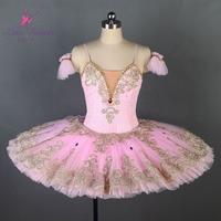 adult profesional tutu pink Gold lace sleeve professional ballet tutus Sleeping beauty ballet tutu Custom ballet dress