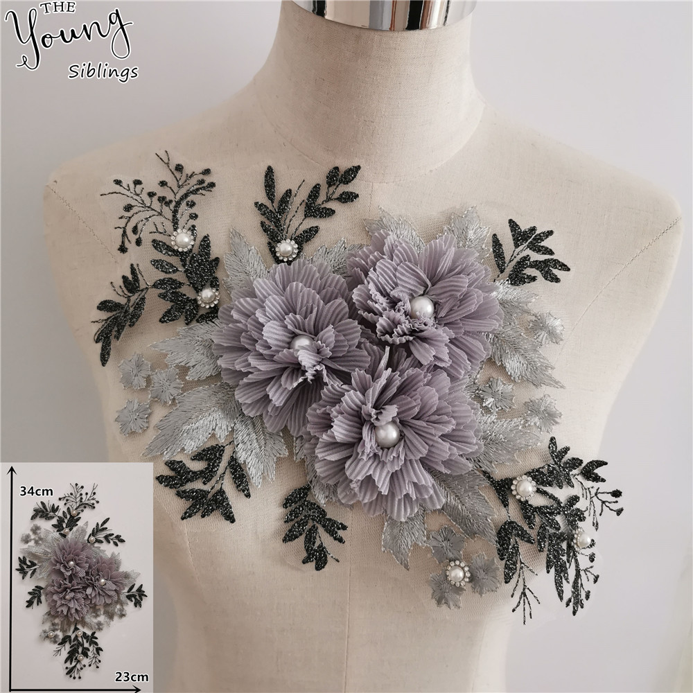 New Arrive Embroidery 3D Flower ABS Pearl Lace Collar Sequins DIY Rhinestone Neckline Fabric Clothing Decorate Accessories