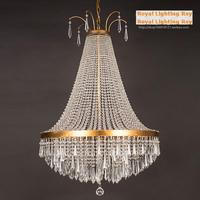 Роскошный высокий ясный бра Кристалл освещение люстра с Золотой укрыты полка Люстры De Cristal led Люстры Lampadari Moderni
