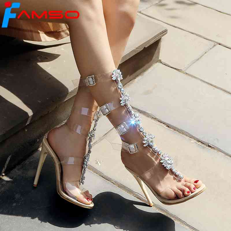 FAMSO 2018 Women Sandals  New Sexy Black White Knee High Sandals Shoes Peep toe Female Party Gladiator Rhinestone Sandals Shoes new sexy vs045 1 6 black and white striped sweather stockings shoes clothing set for 12 female bodys dolls