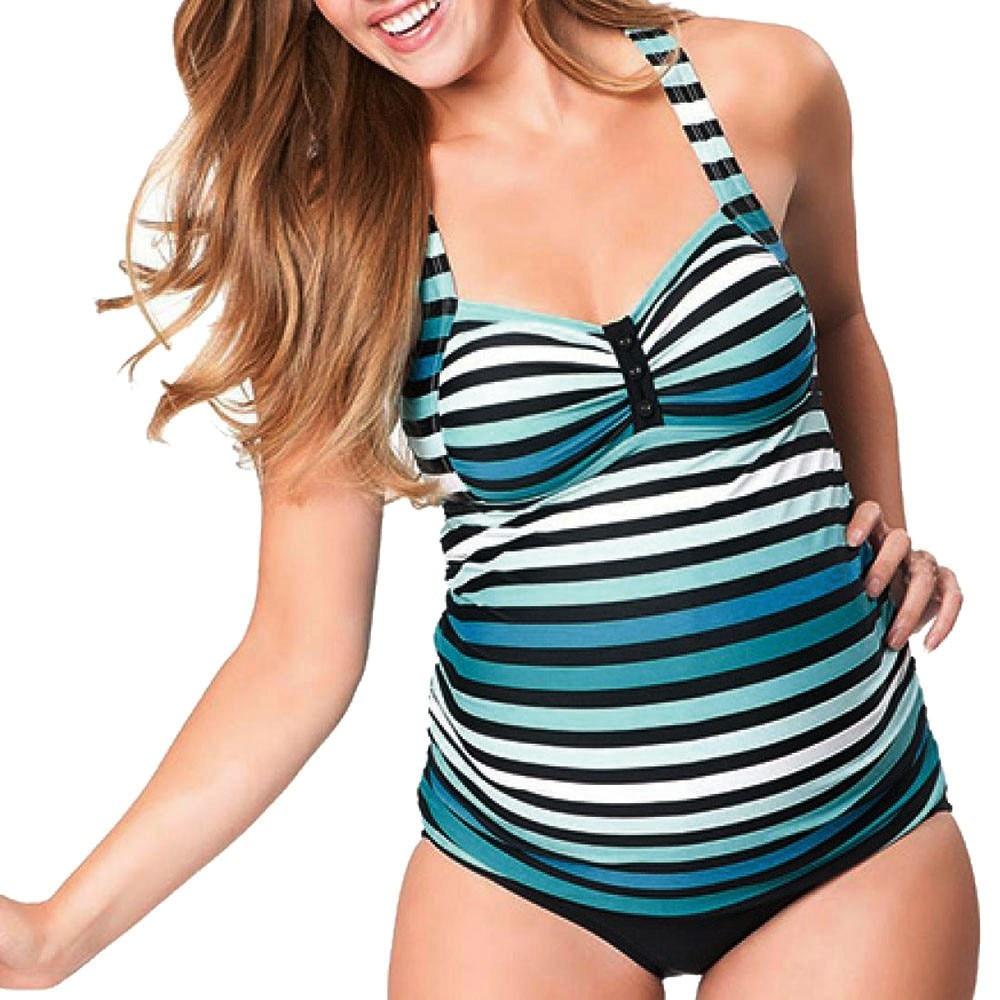 Maternity Tankinis Women Stripe Print Bikinis Swimsuit Beachwear Pregnant Suit Biquini Brazilian Biquini Bathing