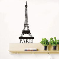 DIY Removable Romantic Paris Eiffel Tower Customized Wall Stickers Art Vinyl Decals Home Baby Girls Room Bedroom Dormitory Decor