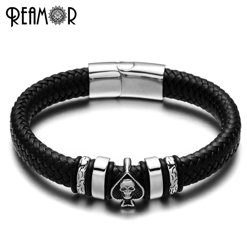 REAMOR 316L Stainless Steel Bracelets Spade & Skull Head Style Charms Trendy Male Bracelet Wide Braided Leather Rope Bangles
