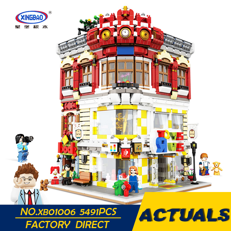 XingBao LegoEDS City Series The Toys And Bookstore Model Building Kit Stacking Blocks Adult Splicing Educational Kids Toys Gifts