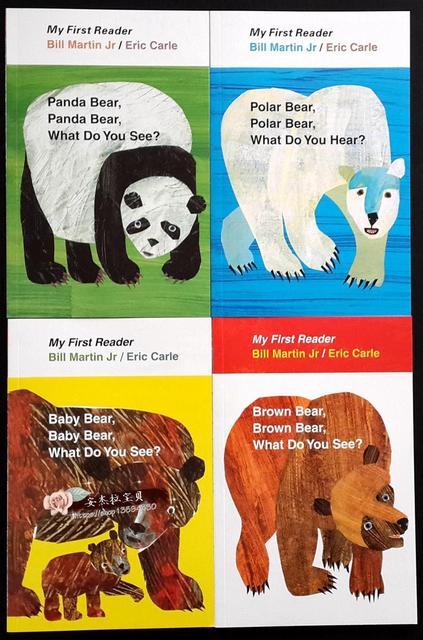 4 piezas inglés libro para niños mi primer Mini biblioteca: marrón, oso marrón, ¿Qué ves? Educativos popular libro