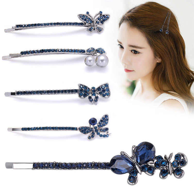 Clamp Vintage 1Pair Blue Women Bowknot Girls Barrette Crystal Hair Clips Hairpins Flowers Shaped Retro Hairpins Rhinestone