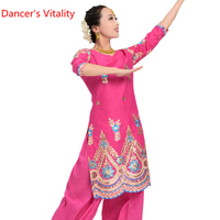 Handmade embroidery Pure Cotton tops Professional Women Belly Dance tops India Dance Belly Dancing Stage Practice clothing