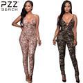 Summer Casual Club Rompers Womens Jumpsuit Sleeveless Sequin Sexy Clubwear Fitness Bodycon Women Jumpsuits Backless Overalls